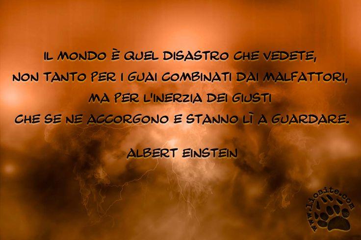 """Mai una citazione mi è parsa tanto adatta ai tempi attuali dell'Italia. Forse solo i cervelloni stile Einstein lo capiscono???  """"Il mondo è quel disastro che vedete, non tanto per i guai combinati dai malfattori, ma per l'inerzia dei giusti che se ne accorgono e stanno lì a guardare."""" Albert Einstein  #Einstein, #inerzia,"""