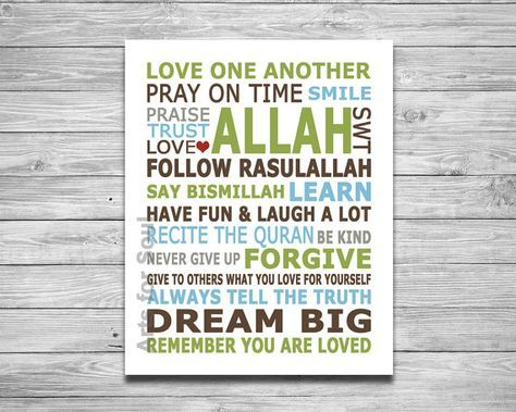 "Islamic House Rules Modern Islamic Art. Digital Printable Wall Decor Art Print 8""x10"""