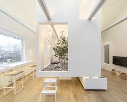ruetemple adds multi-functional cube to living room in moscow
