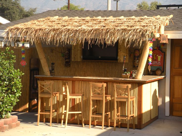 Our backyard Tiki Bar - (wanted one) good idea- attached to existing shed