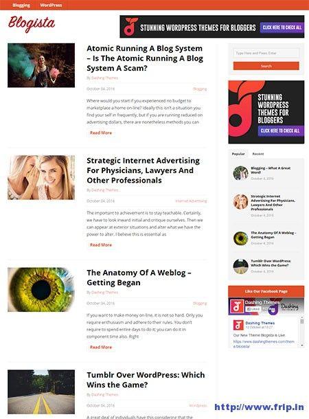Blogista WordPress Theme By Dashing Themes  http://www.frip.in/blogista-wordpress-theme/