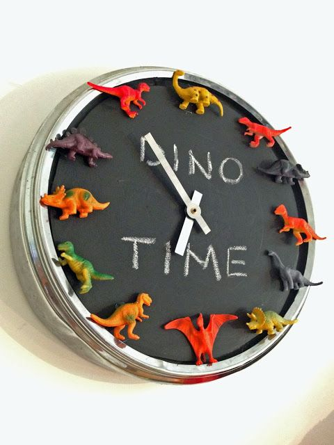 Dino clock  -- or make with any favorite bits... Shells, coins... so many to choose from