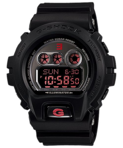 "GD-X6900MNM-1JR G-SHOCK In celebration of the 30th anniversary G-Shock has announced a collaborative limited edition release with hip-hop icon Eminem. As a tribute, the skyline of Detroit is printed in bold red on the upper watchband. The watch face and band loop sport the reverse ""E"" from the stylized EMINEM moniker, while the watchcase back and lower watch band are personalized with an autograph of his alter ego, ""Shady"""