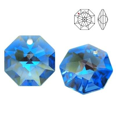 STRASS Swarovski 8115 Octagon 14mm Medium Sapphire Blue AB with 1 hole  Dimensions: 14,0 mm Colour: Medium Sapphire Blue AB 1 package = 1 piece
