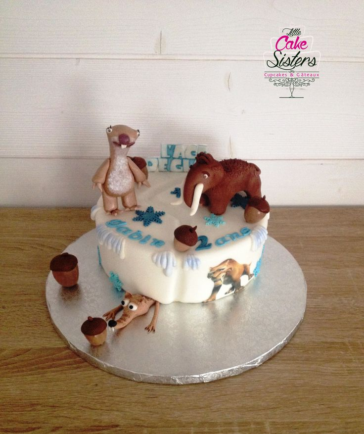 g 226 teau 226 ge de glace figurines manny scrat et sid en p 226 te 224 sucre gumpaste id 233 e cake design