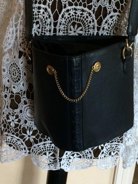 Genuine Gianni Versace bag, blue leather, shoulder bag, 90's Versace bag