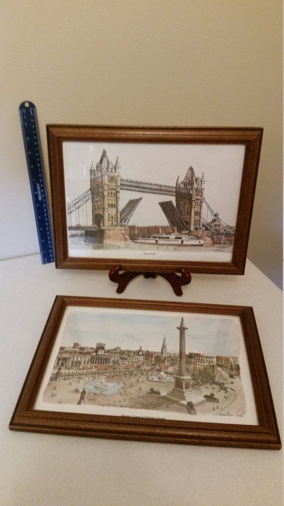 2 vintage london england art framed watercolor litho prints 1978 signed bernard smith - london tower and nelsons column in trafalgar square