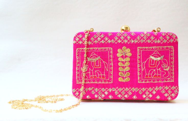 The Hot Pink Elephant Clutch by LabelSneha on Etsy