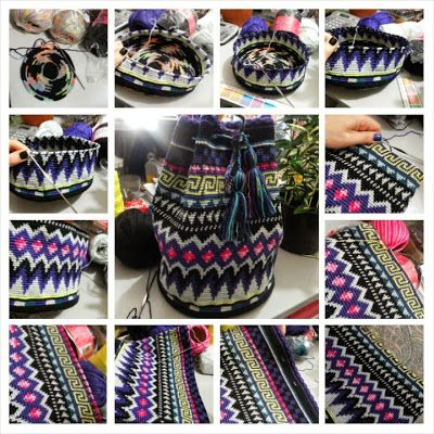 Tapestry crochet purse inspired by the Colombian Wayuu.  Many colors, Fairisle