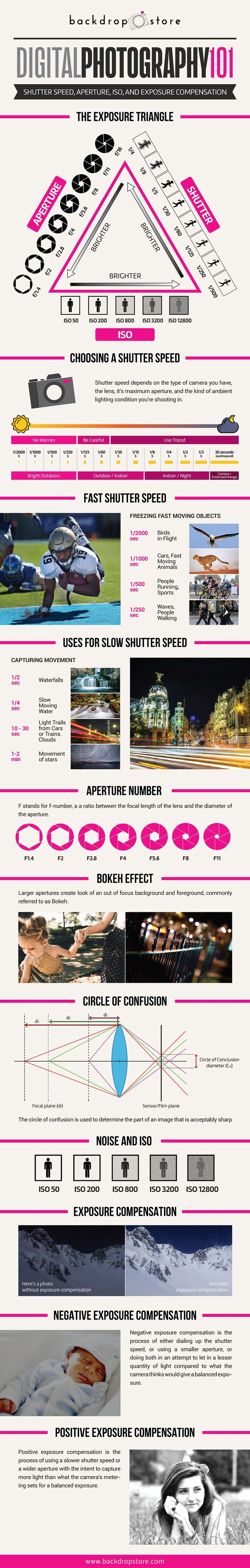 Digital Photography 101 - Shutter speed, Aperture, ISO and Exposure Compensation #photography #photographytips #101