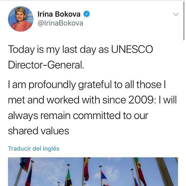 Irina Bokova la mujer que llevó en sus hombros el peso del liderazgo de la máxima autoridad mundial sobre Educación Ciencia y Cultura. Ella me ha inspirado profundamente. Gracias por toda Irina.