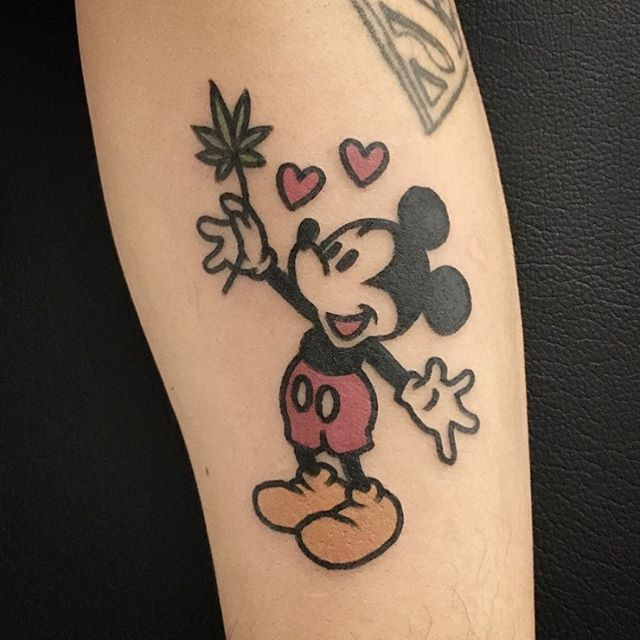 the Mickey Mouse itself is really cute but idk about weed on my tattoo