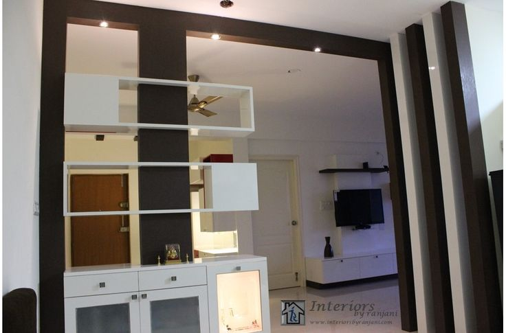 Partition Between Living And Dining Pooja Cabinet