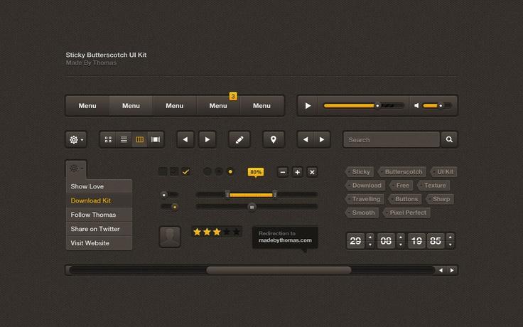 Varios elementos interface.  PSD: http://madebythomas.com/freebies/Sticky.zip