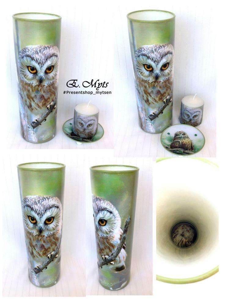 """Подарочный набор """"Совушка"""". Набор состоит из вазы для цветов, тарелки, свечи и подсвечника. Работа выполнена в технике обратный декупаж и все предметы используются по своему прямому назначению."""