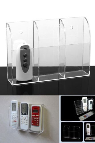 Acrylic Tv Remote Control Holder Wall Mount Storage Box Media