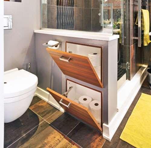 Jeder Zentimeter zählt. Die Trennwand zwischen der Toilette und der Dusche verbirgt einen Stauraum … – ® Copyright-Informationen Pratico-Pratiqu…