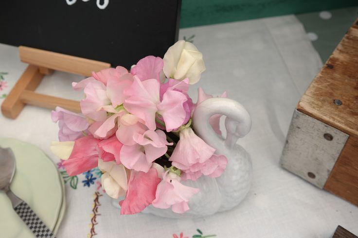 Swan vase of sweet peas.