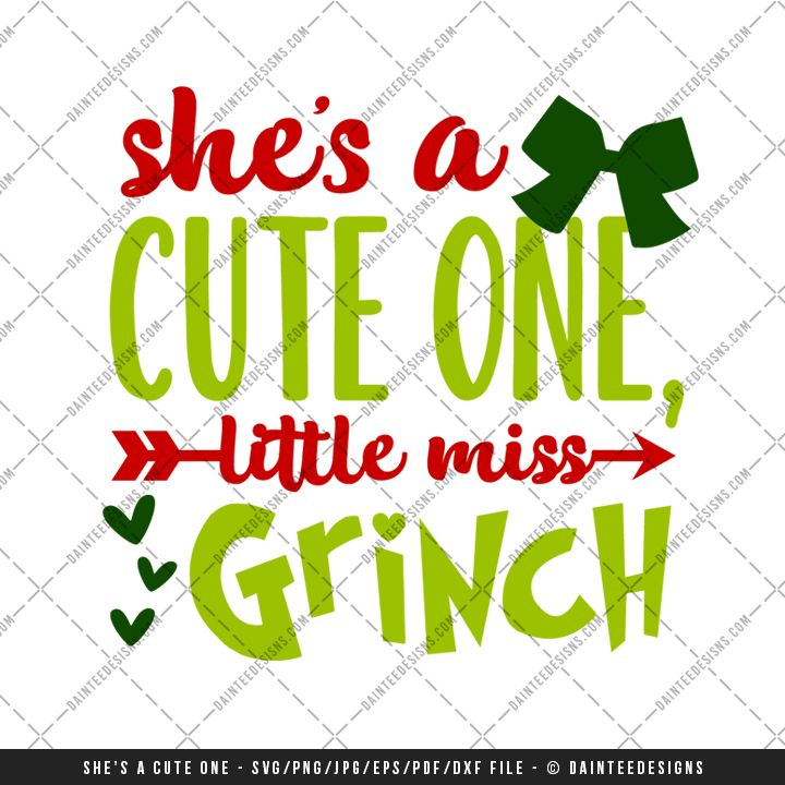 "Featured here is our scalable vector graphic (SVG) file, ""She's A Cute One, Little Miss Grinch"". This is a digital file only and is perfect for any vinyl cutter. This is an instant download and available upon purchase. You will receive a zip folder that will need to be unzipped. Full details can be found below."