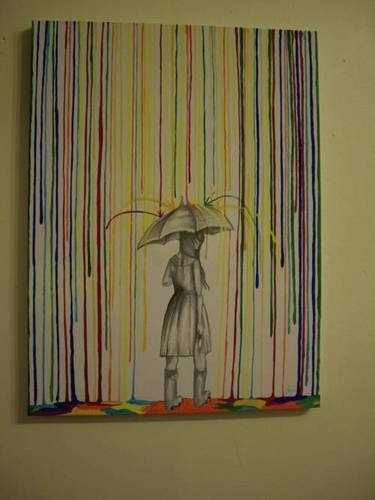 Crayon Art ---- rain on a sketch.. love this idea! But no clue how to make it 'bounce' off the umbrella!