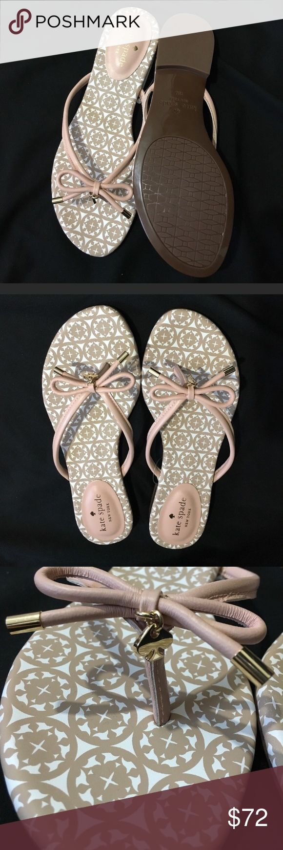 Kate Spade Flip Flops leather A stunning, elegant and comfortable flip flops from kate spade. BRAND NEW. NEVER WORN Perfect for pairing with warm weather outfit. They will deliver all the style and comfort your day. STUNNING PIECE HIGH QUALITY Metal-tipped ties accent the vachetta-leather thong strap of a kicky flip-flop that's just the thing for your next getaway. Leather upper, lining and sole Retail $118 Salon Shoes kate spade Shoes