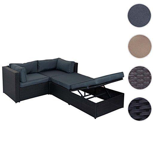 Divano sofa con penisola mobile da esterno Adana polyrattan alluminio nero con cuscini grigio