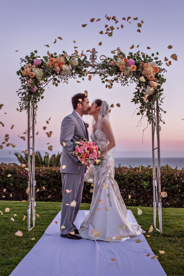 C Peach And Aqua Wedding By The Sea