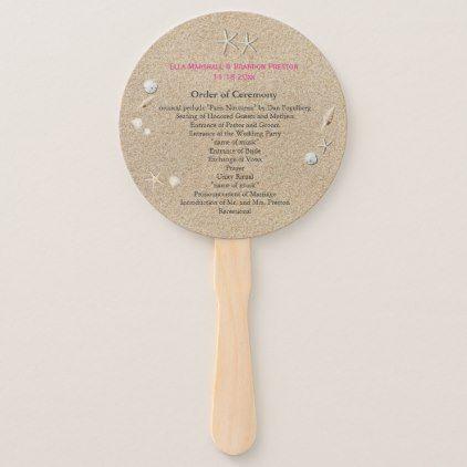Beach Sandy Toes Salty Kisses Wedding Program pink Hand Fan - ocean side nature waves freedom design