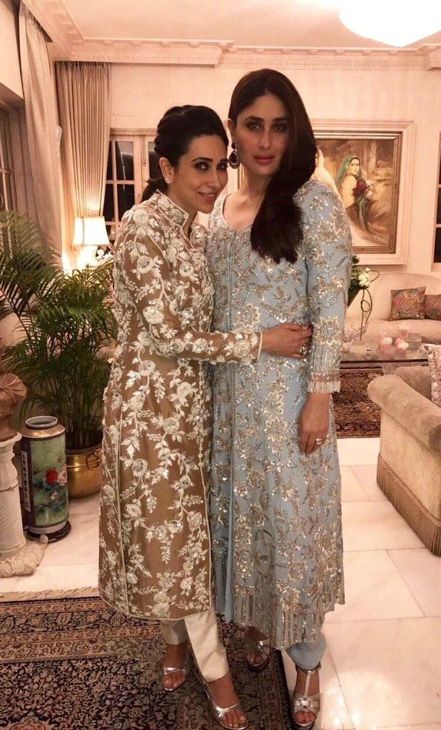 Kapoor sisters in simple yet elegant clothes by Manish Malhotra.