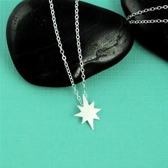 silver north star necklace