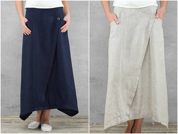 Long Linen Skirt | Loose Fit Maxi Skirt with Pockets | Linen Summer Skirts Tea Length | Linen Clothing for Women | Dark Navy Blue/ Purple / Light Gray