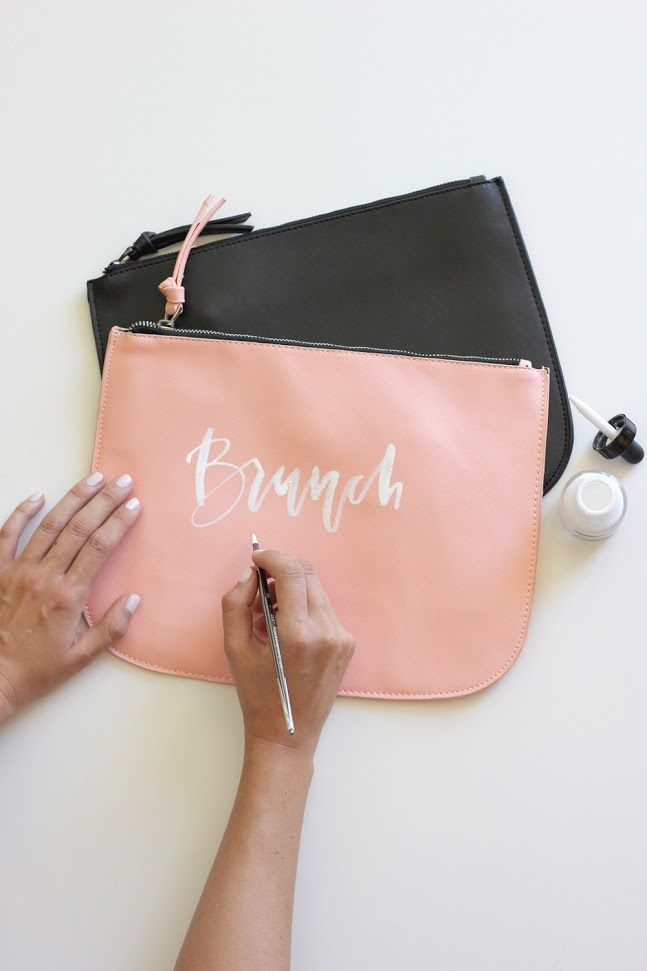 Hand Lettered Happy Hour and Brunch Clutches   DIY