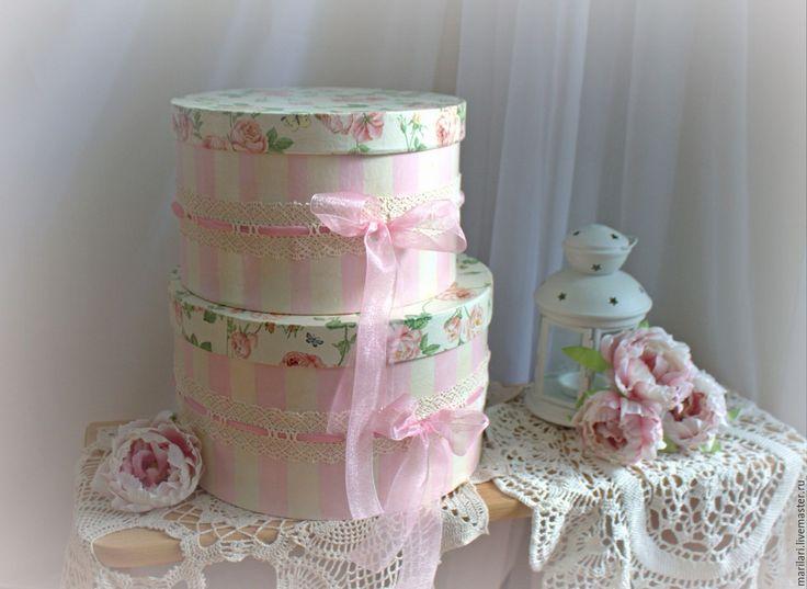 """Купить Шляпные коробки """"Розовые облака"""" - розовый, интерьер, украшение интерьера, шебби-шик"""