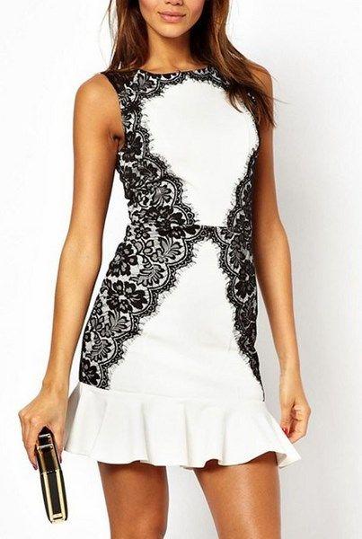 Šaty s čipkou - bieločierne