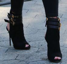 Mujeres elegantes llegada de ante negro punta abierta botines sandalia Stiletto talón de corte hebilla botas cortas verano recortes zapatos(China (Mainland))