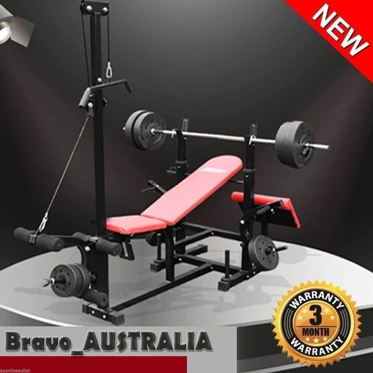 Adjustable Weight Bench Incline Flat Lat Pull Down Preacher Leg Curls + 100lbs
