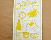 MIDCENTURY MODERN TOWELS Linen Tea Towel Bar Cloth Recipe Yellow Watermelon