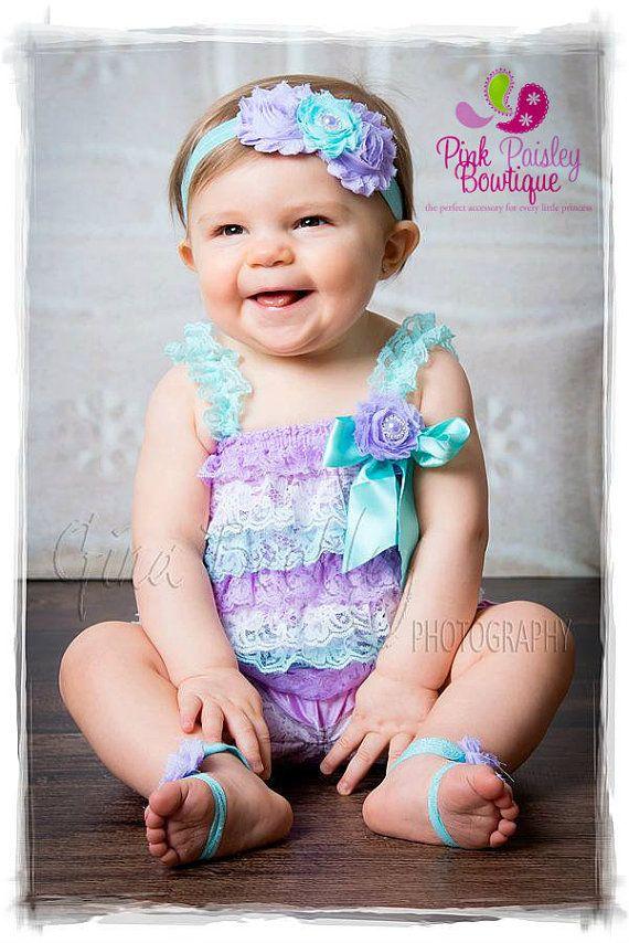 Lace Petti Romper - 3 pc SET- Aqua & Lavendar Petti Romper- Ruffle Romper -Baby Girl Rompers -Ruffle Rompers - 1st Birthday Outfit