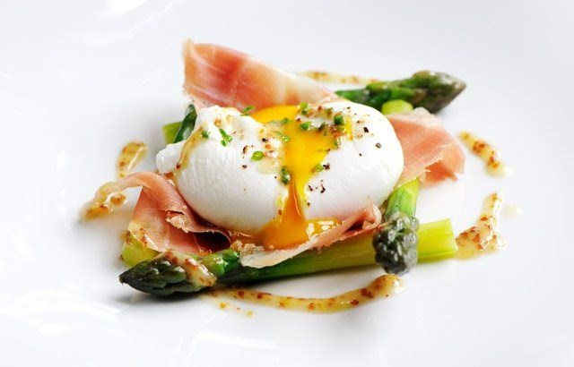 Poached duck egg with English asparagus, cured ham and grain mustard dressing recipe