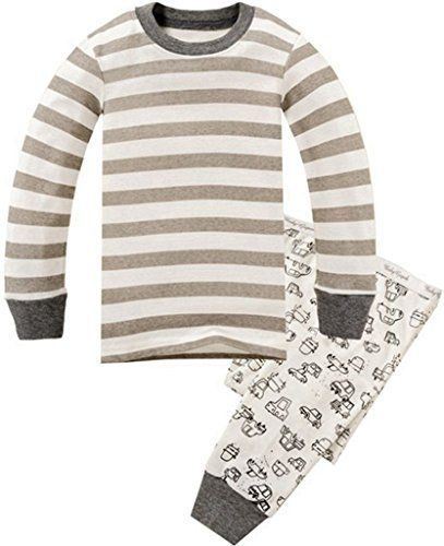 Children Pajamas Striped Cotton Clothing For Boys Set Size 2T-7 -- You can find more details at
