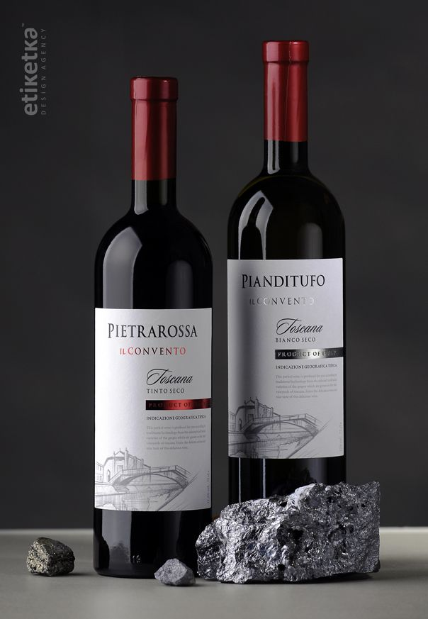 Упаковка вина Pietrarossa и Pianditufo – дизайн-агентство Etiketka