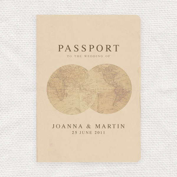 antique chic travel wedding passport program by idoityourself. $16.50, via Etsy.