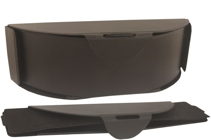 Flipcase Collapsible sunglass case folds flat when not in use. Strong, protective case for sunglasses, easily opens like a box and velcros together.  PVC.