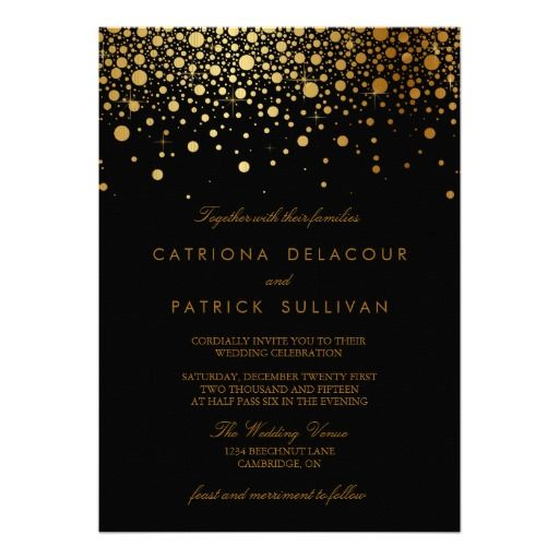 Faux Gold Foil Confetti Black Wedding Invitation #wedding #invitations