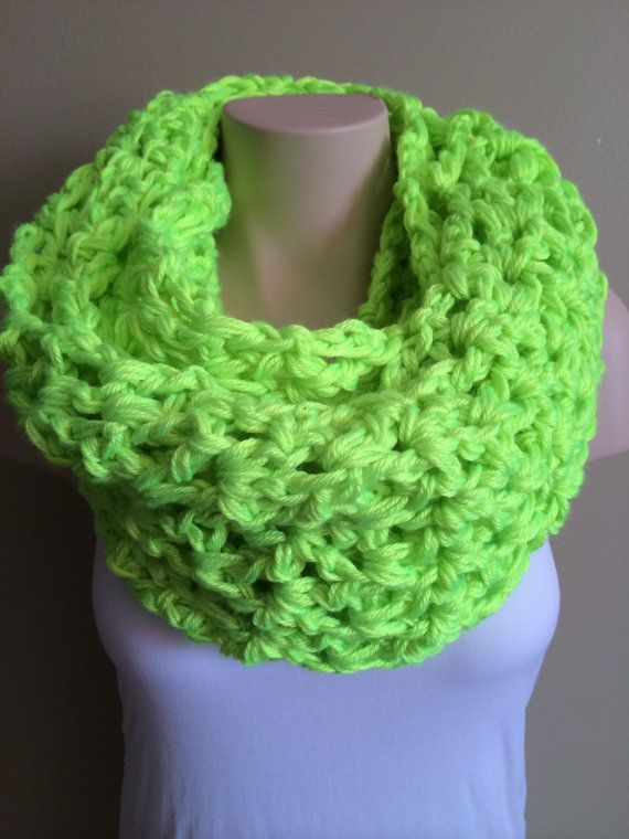 iScarf  Long Crocheted Infinity Scarf  Neon Yellow by iHooked, $30.00