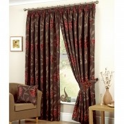 Jacinta Floral Lined Pencil Pleat Curtains, Chocolate / Red