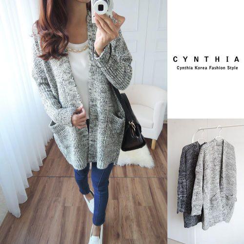 Long-Sleeve Pocket Cardigan, Gray , One Size - CYNTHIA | YESSTYLE Canada