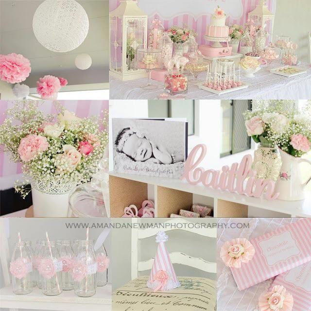 Hermosa primera fiesta de cumpleaños rosada por las Partes Celebrando