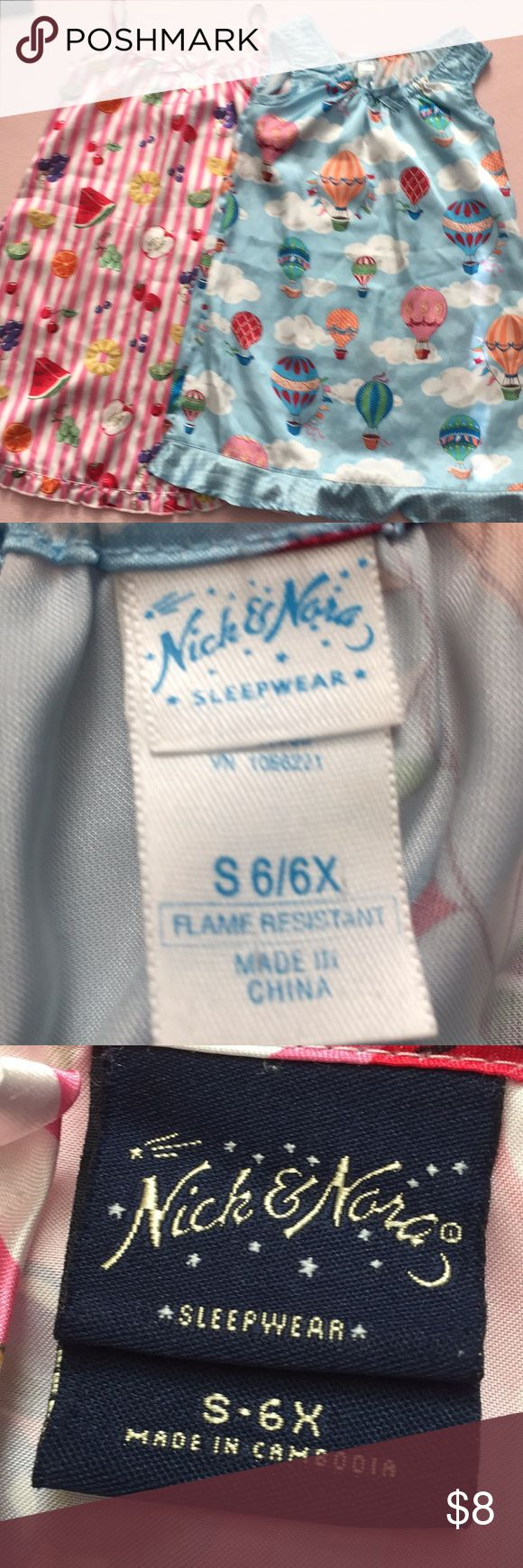 Nick and Nora nightgowns Two Nick and Nora nightgowns, size 6-6X. Nick and Nora Pajamas Nightgowns