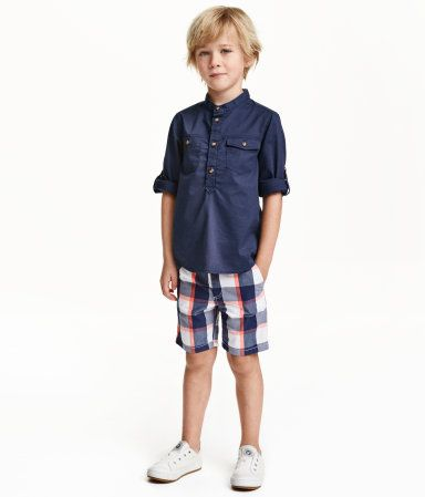 Check this out! Chino shorts in cotton with a removable fabric belt. Adjustable elasticized waistband, zip fly with button, side pockets, and welt back pockets. - Visit hm.com to see more.